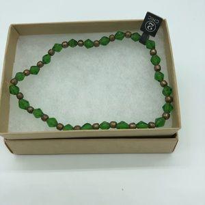 Green and copper beaded bracelet